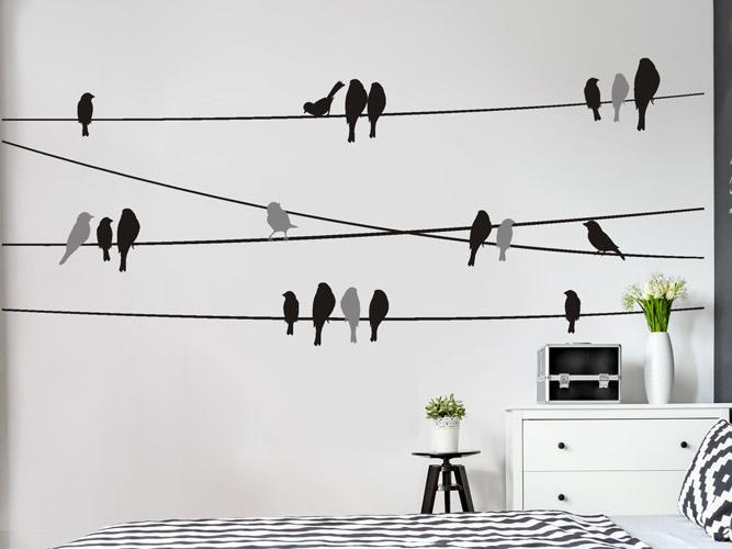 wandtattoo vogelschwarm auf stromleitungen bei. Black Bedroom Furniture Sets. Home Design Ideas