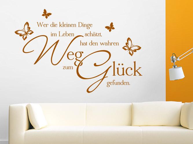 Wandtattoo Weg zum Glück mit Schmetterlingen bei Homesticker.de