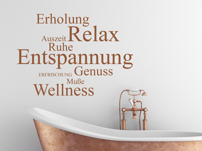 Wandtattoo Worte - Relax, Genuss, Wellness... - Homesticker.de