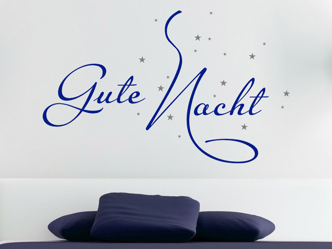 wandtattoo worte wunderbare gute nacht bei. Black Bedroom Furniture Sets. Home Design Ideas