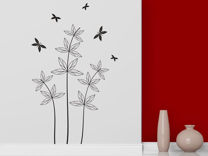 wandtattoo zarte pflanze mit schmetterlingen bei. Black Bedroom Furniture Sets. Home Design Ideas