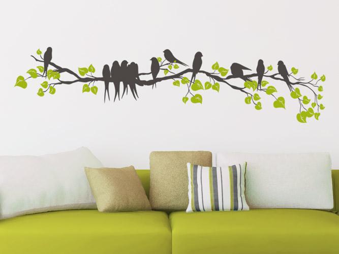 wandtattoo zweig mit v geln und bl ttern bei. Black Bedroom Furniture Sets. Home Design Ideas