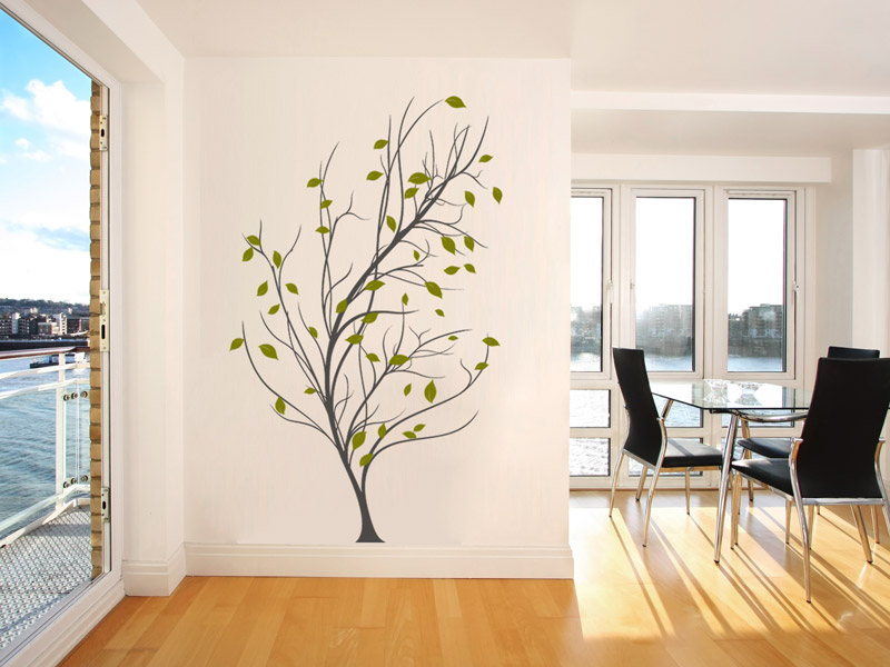 Wandtattoo Baum Blätter anordnen