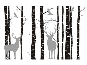 Wandtattoo Birkenwald mit Hirschen