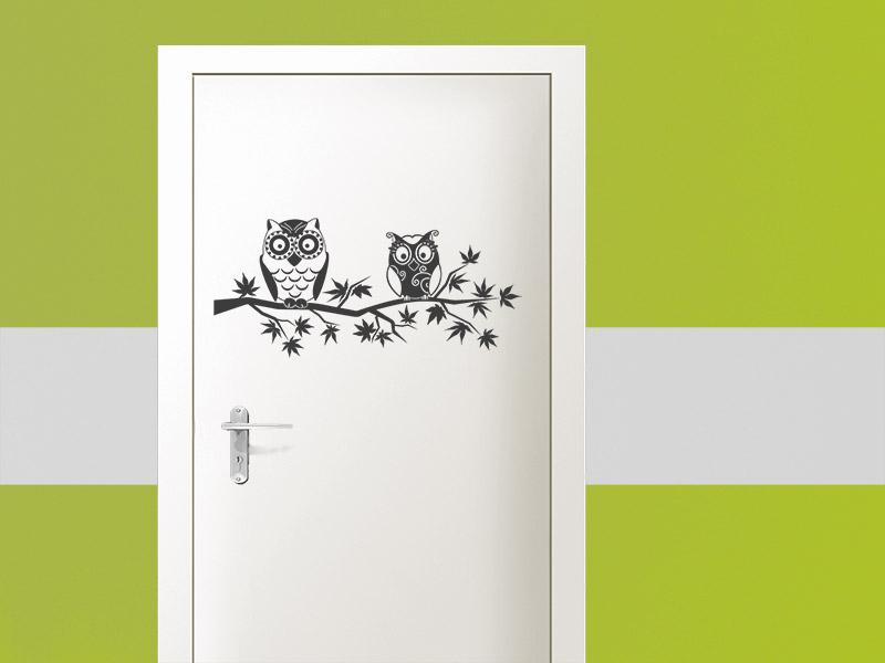 Beautiful Tür Mit Eulen Aufkleber Als Wandtattoo