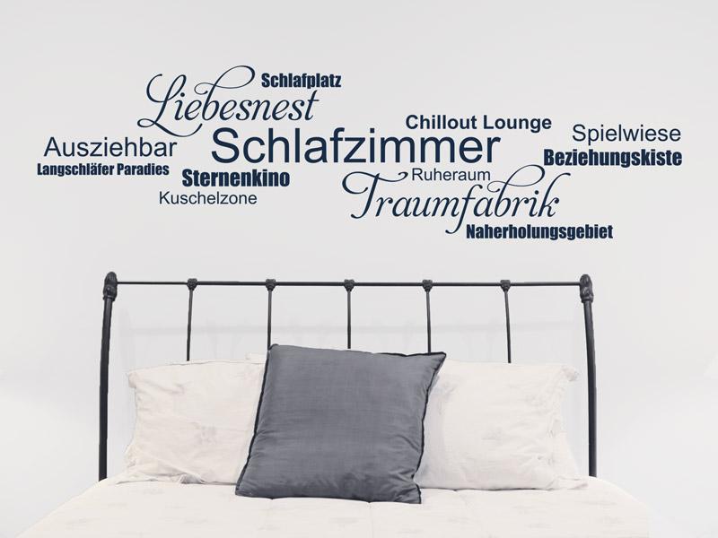 Wandtattoo Wortwolke Schlafzimmer anders anordnen